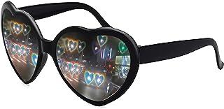 نظارات شمسية على شكل قلب، نظارات EDM متغيرة الضوء ومهرجانات الفرق في تأثير القلب للنساء الرجال