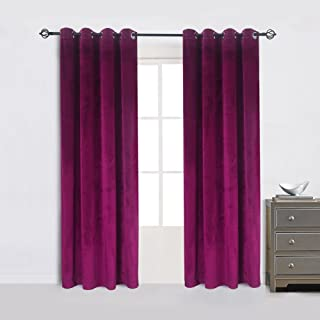 Super Soft Luxury Velvet Set of 2 Fushcia Room Darkening Blackout Curtain Panel Drapes Drapery 52 Inch Wide By 84 Inch Length with Grommet Fushcia(2 panels)