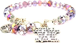 ChubbyChicoCharms Lavender Purple Crystal Only I Can Change My Life No One Can Do It for Me Bracelet
