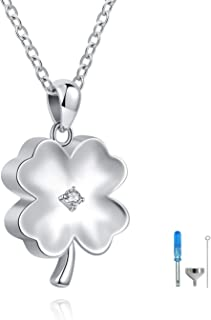 ACJFA Clover Urn Pendant Necklace 925 Sterling Silver Cremation Jewelry Keepsake Ashes Necklace Memorial Jewelry Gift for Women