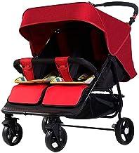 HYDDG Niños Triciclo Doble Sillas de Paseo para Recién Nacido y Niñito, Gemelo Bebé Paseante Ligero Calesa Lado por Lado para Infantil, Fácil Plegable,Rojo