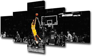 """Black and Yellow Background Match Wall Art Painting Basketball Player Kobe Bryant of Lakers at Staples Center in Los Angeles Pictures Print On Canvas for Home Decoration Ready to Hang -50""""W x 24""""H"""