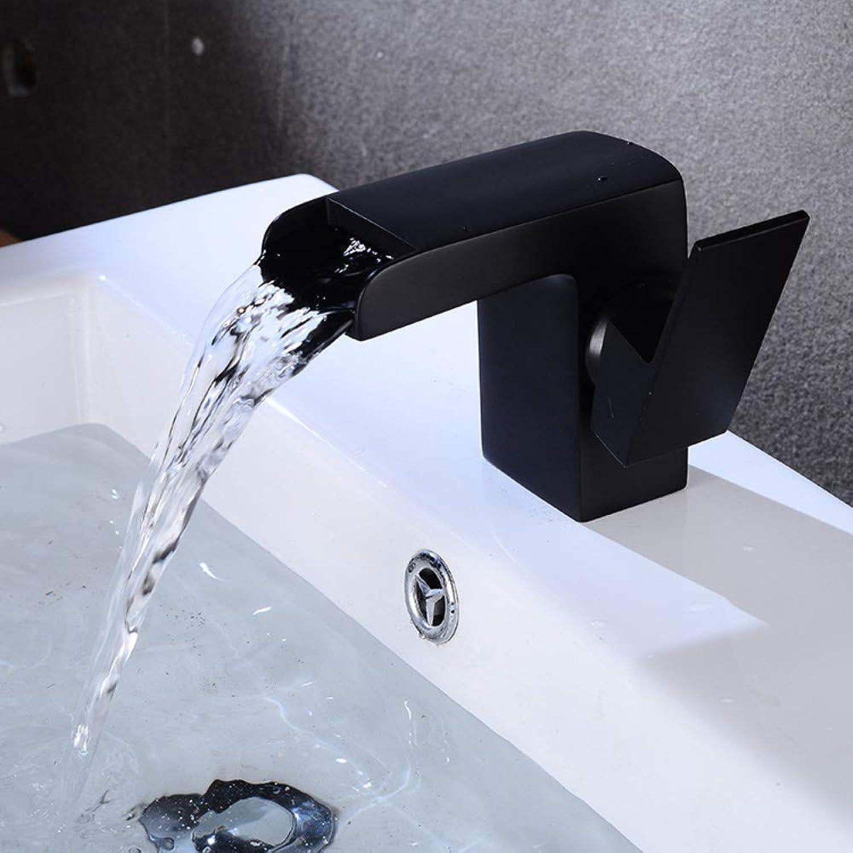 Wasserfall-Schwarz-alter Wasserhahn-Waschbecken-Kunstwasserhahn-Persnlichkeits-einzelnes Loch-heier und kalter Wasserhahn