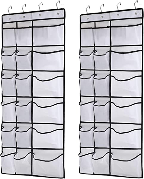 Kootek 2 Pack Over The Door Shoe Organizers 12 Mesh Pockets 6 Large Mesh Storage Various Compartments Hanging Shoe Organizer With 8 Hooks Shoes Holder For Closet Bedroom White 59 X 21 6 Inch