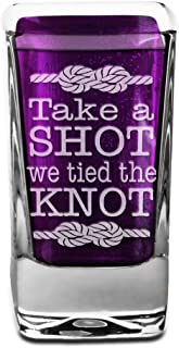Take a Shot we Tied the Knot Engraved Personalized front back Wedding Party Reception Favors Just Married for Bride Groom Engraved Groomsmen Gift
