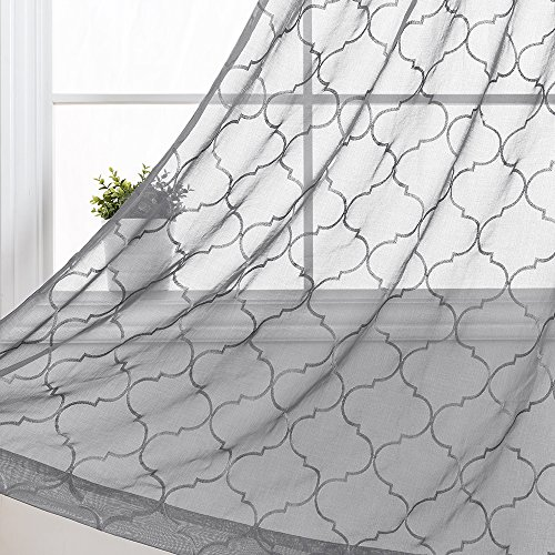 """jinchan Sheer Geometric Quatrefoil Curtains for Living Room/Bedroom Floral Embroidered Moroccan Tile Window Voile Curtain Set, (Set of Two, 55"""" x 63"""", Grey)"""