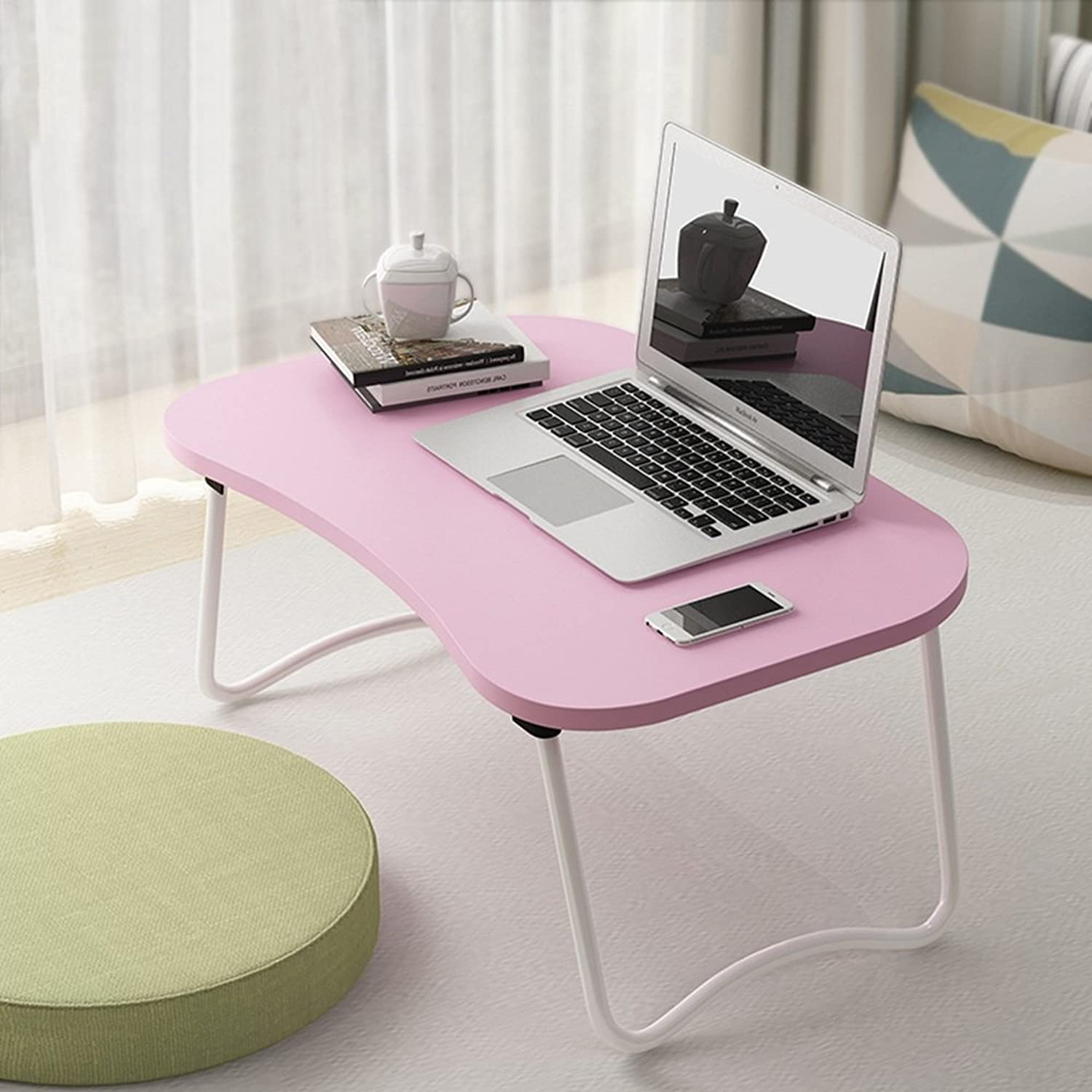 QFFL Table Folding Table Folding Computer Table Single Folding Table for Everyone Simple Book Desk 3 color Optional Lapdesks (color   A)