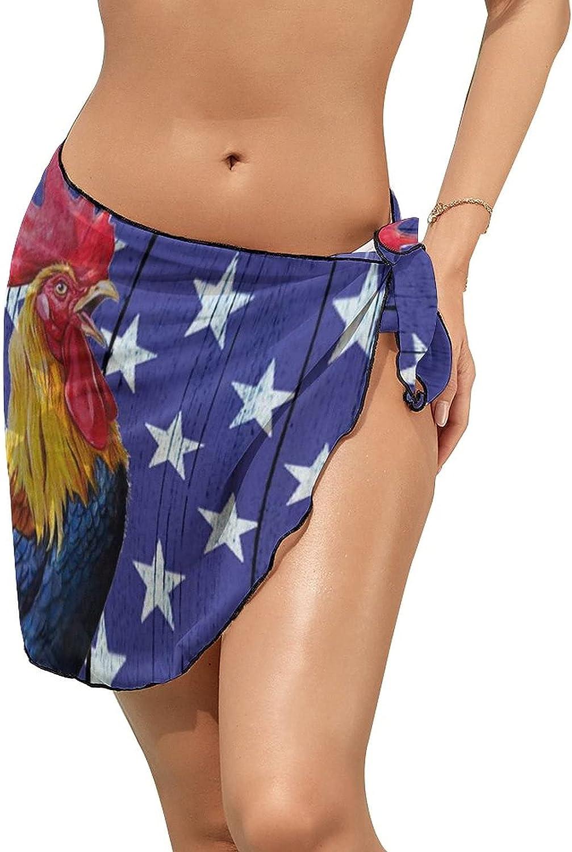 JINJUELS Women Beach Wrap Skirts Flag Rooster Personalized Bikini Swimwear Beach Cover Up
