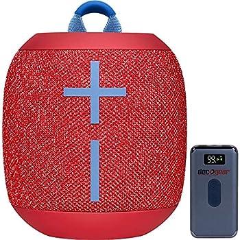 Ultimate Ears 984-001549 WONDERBOOM 2 Portable Waterproof Bluetooth Speaker Radical Red Bundle with Deco Gear Power Bank 8000 mAh Digital Display with Wireless Device Charging  Renewed