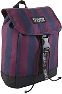 PINK Mini Sport Clip Backpack, Blue/Maroon Stripe