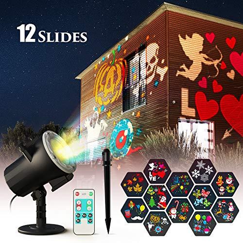 Halloween deko Weihnachten LED Projektorlampe, Ltteny LED Projektor Lichter mit 12 Motiven, Innen/Außen IP65 wasserdichte Außenbeleuchtung Weihnachten LED Projektor mit Fernbedienung zum Party Urlaub