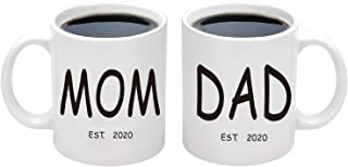 Mom and Dad Mugs Est 2020 New Mom and Dad Coffee Mug Set New Parents Gifts Coffee Cup 11 Ounce (Dad and Mom, 11 oz)