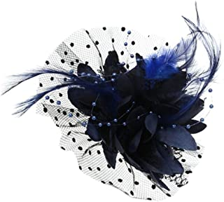 Abuvermon Feather Beads Wedding Fascinator Dot Veil Women Bridal Mesh Bow Hair Clip