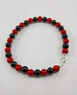 Bracciale nero rosso e argento
