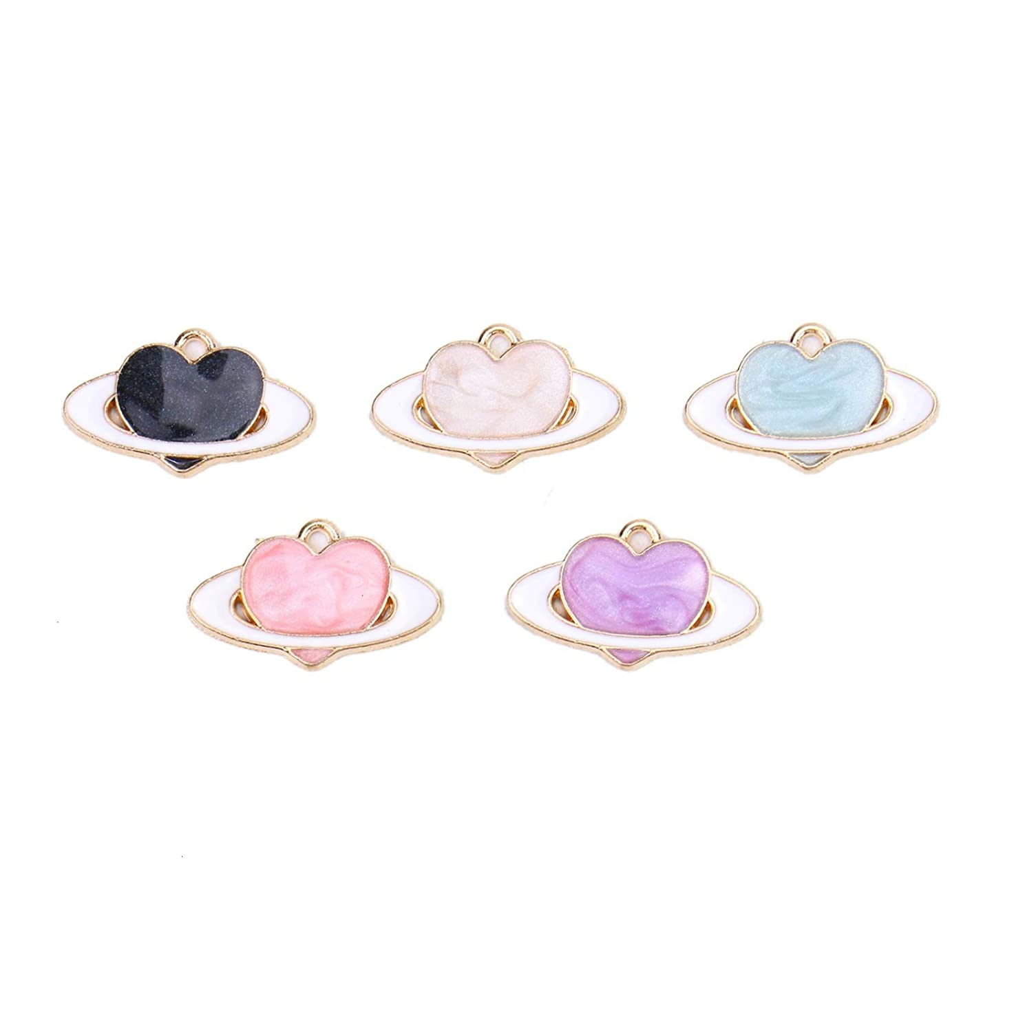 Monrocco 20Pcs Mixed Colors Enamel Heart Charms Pendant Alloy Charms Pendant for Jewelry Making and Crafting