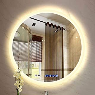 WYXIAN Designer Round Illuminated LED Bathroom Mirror Demister Pad IP44 Vanity Large Mirror Make Up Dressing Wall Mirror (Color : WARMLIGHT, Size : 80CM)