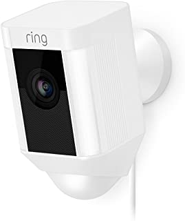 Ring Spotlight Wired Cam-Wi-Fi Smart Home Security Camera White -Wired-Led lights- Two way talk - Full HD live video- Ou...