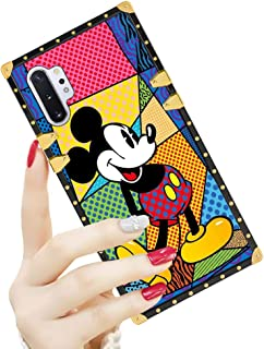 DISNEY COLLECTION Samsung Galaxy Note 10 Plus/Samsung Note 10+ 5G Case Square Cover Art Mickey Mouse Pattern Design Flexible Soft TPU Reinforced Luxury Metal Decoration Corners Shockproof Slim Shell
