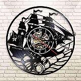 CCJNN Aventura Velero Velero Decoración para el hogar Reloj de Pared de Vinilo Reloj de Pared Decoraciones de telescopio de mar de Ultramar Reloj de Pared