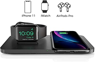 Seneo 2 in 1 Dual Wireless Charging Pad with iWatch Stand for iWatch 5/4/3/2, 7.5W for iPhone 11/Pro Max/XR/XS Max/XS/X/8/8P, Airpods Pro (No iWatch Charging Cable, No Qc 3.0 Wall Adapter)
