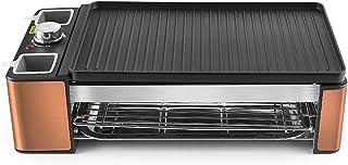 HAZYJT Grils À Raclette Rectangle Double Couches 1300W Poêle Électrique sans Fumée Grill BBQ Grill Plaque Électrique,Beige