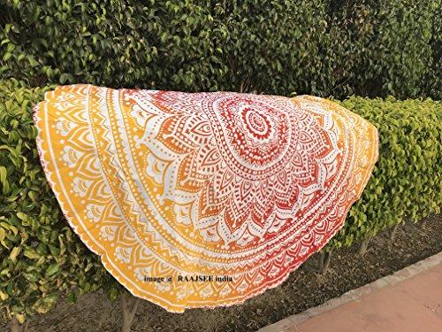 raajsee Round Tapestry 70 Inch Round (Blue Orange Mandala)