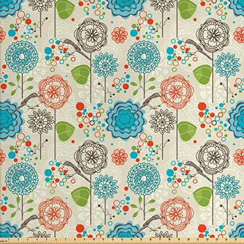 Ambesonne Floral Fabric by The Yard, Retro Doodle Flower Field Dandelions Daisy Birds Circles Cheerful Image, Decorative Fabric for Upholstery and Home Accents, 1 Yard, Cream Blue