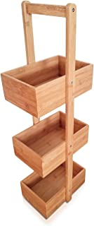 SplashSoup Three Tier Bamboo Natural Home Caddy | Free Standing Bathroom Organizer | Kitchen Accessory Storage Rack | Decorative Living Room Holder | Multifunctional Compartment Shelf Bins