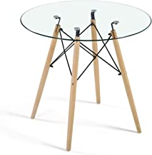 Dining Table Modern Round Glass Clear Table for Kitchen Dining Room Coffee Leisure Table with Wood Legs…