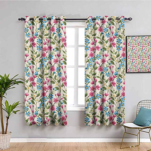 Flower Curtain Panels, Curtains 63 inch Length Blooming Spring Flowers on Branches Romantic Bouquet Corsage Design Print Indoor Curtain Pink Blue Yellow W63 x L63 Inch