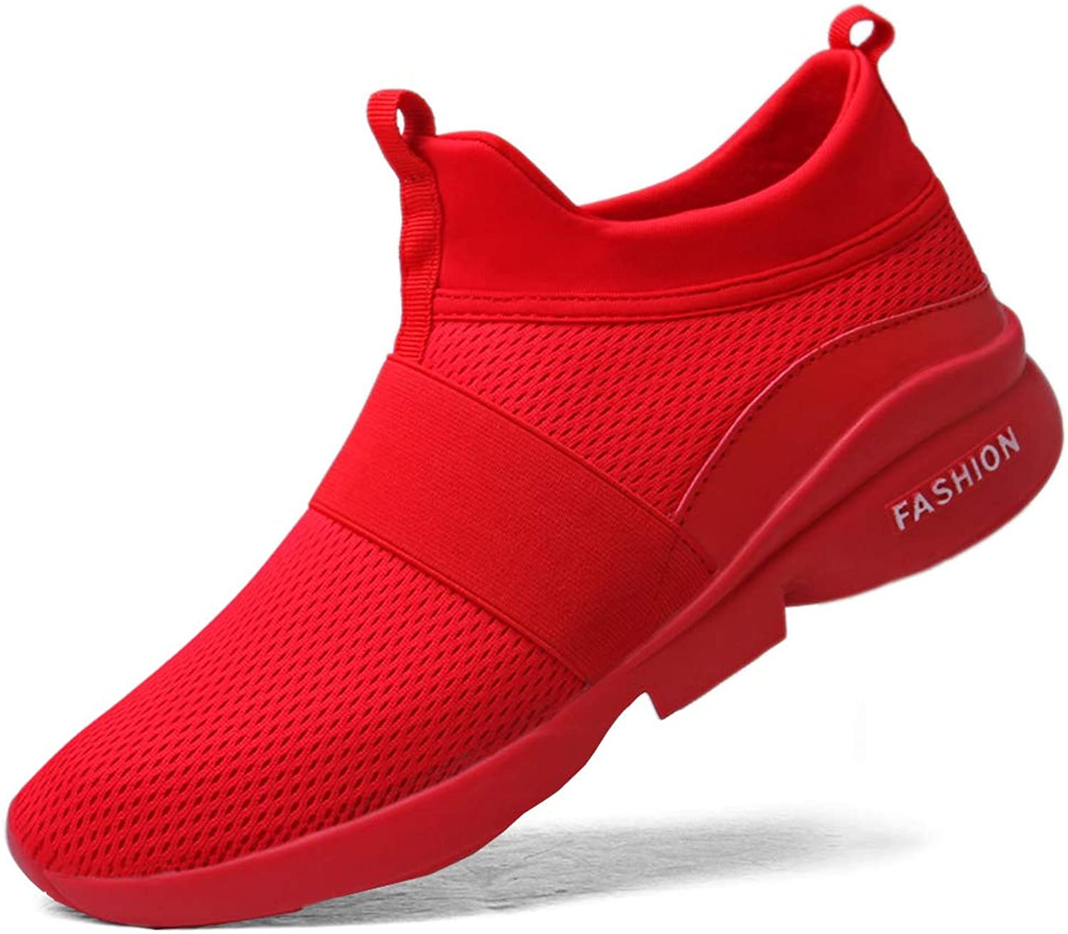 Andyy Men's Running Slip-on shoes Fashion Sneakers Athletic Breathable Lightweight Sports Casual Red Black