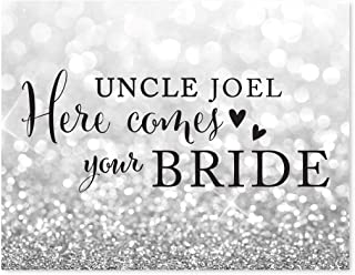 Andaz Press Personalized Wedding Party Signs, Glitzy Silver Glitter, 8.5x11-inch, Uncle Josh, Here Comes Your Bride, Ring Bearer or Flower Girl Sign, 1-Pack, Custom Name