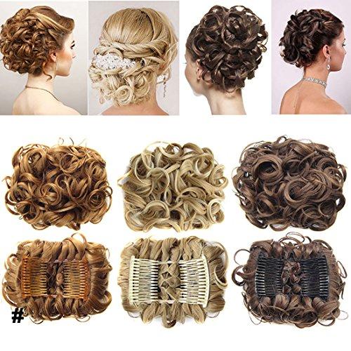 Extensions a clip cheveux naturel postiche cheveux Wrap Scrunchie Scrunchy volumineux bouclés tout droit chignon Combs Hair Extensions bouclés - Gris argenté
