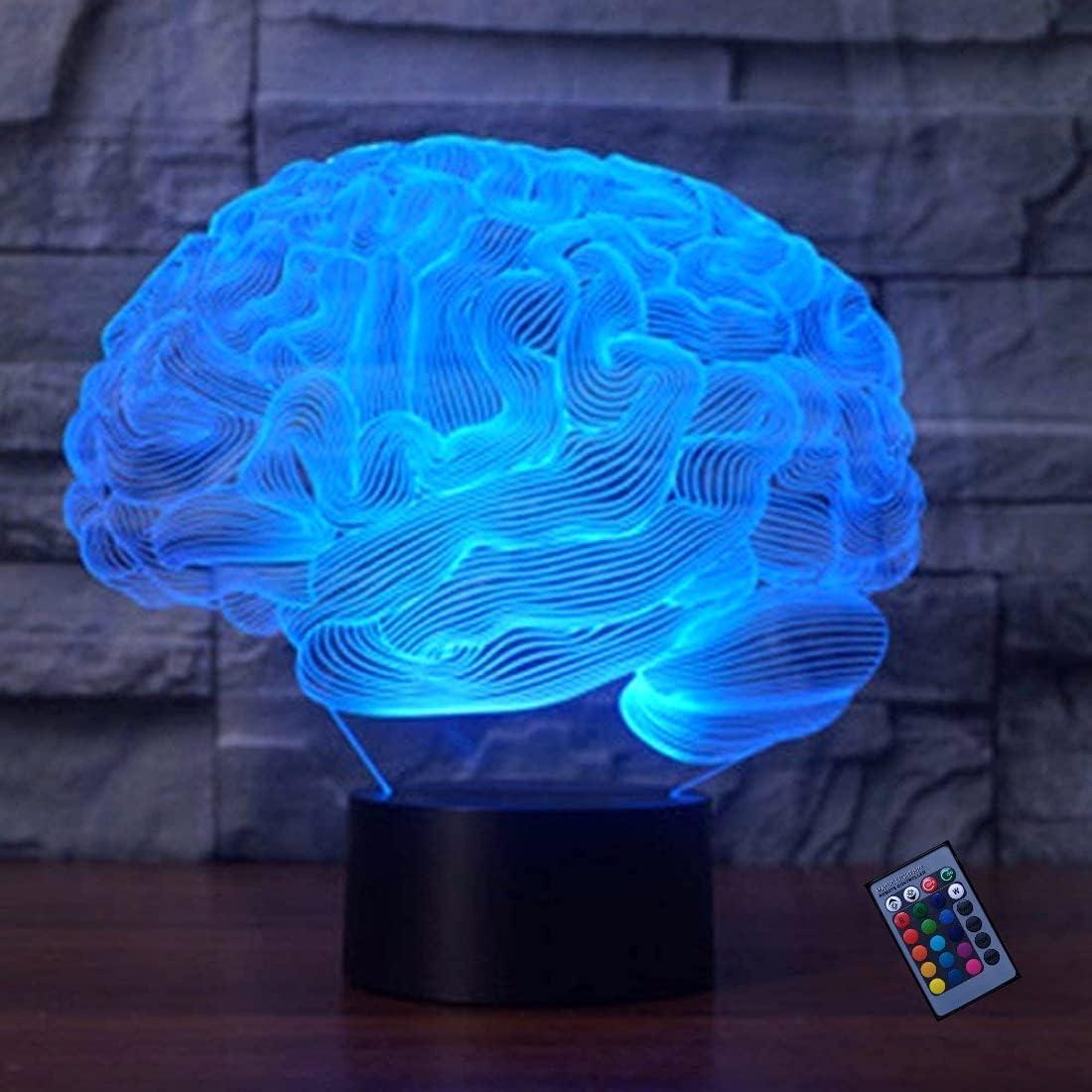 Ilusión Optica 3D Cerebro Luz de Noche 16 Colores que Cambian Control Remoto USB Poder Touch Switch Decor Lámpara LED Mesa Lámpara Niños Juguetes Cumpleaños Navidad Regalo