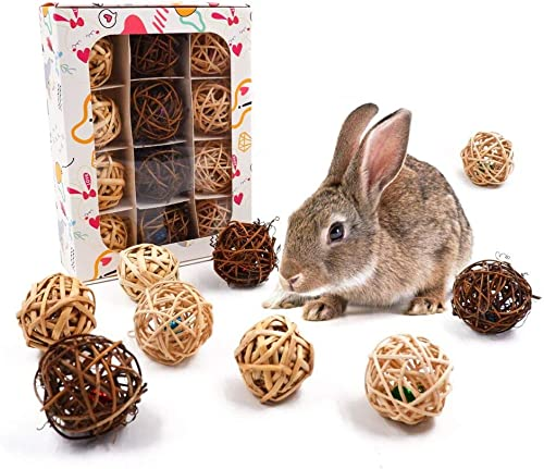 JanYoo 12 Pcs Bunny Treats, Rabbit Chew Toys Rat Activity Ball Guinea Pig Play Bell Toys for Bunny Teeth