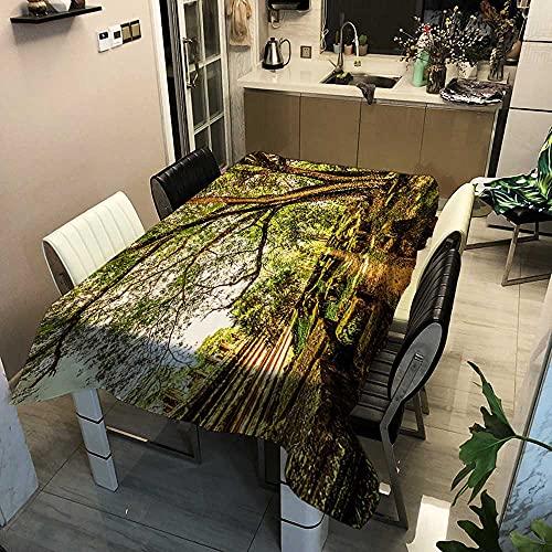 XXDD Mantel de árbol Forestal y Ciervo, manteles Frescos de Lino y algodón, decoración del jardín del hogar, Mantel de Estilo rústico Retro A7, 140x140cm