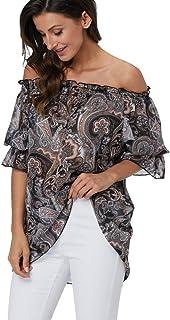 Summer Tops Tunics for Women Off Shoulder Casual Chiffon Blouses Shirts