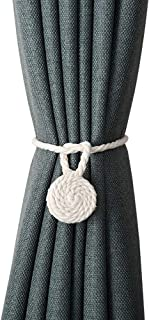 JQWUPUP Magnetic Curtain Tiebacks - Rustic Cotton Rope Outdoor Curtain Holdbacks Holders - Hand Knitting Curtain Tie Backs for Sheer and Drapery (2 Pieces, Beige)