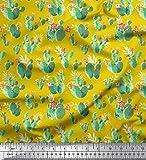 Soimoi Gelb Seide Stoff Blumen & Kaktus Baum gedruckt Craft