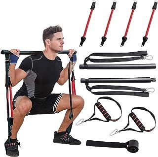 SYCYKA Home Gym Yoga Pilates Stick,Adjustable Length and Resistance Portable Pilates Bar Kit, Full Body Workout Equipment ...