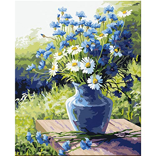 DIY Oil Paint by Numbers for Adults Beginner Paint by Number Kits - Blue Flower Pot with Wild Flowers 16x20 Inch