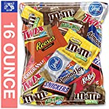 (16 Ounce) Variety Assortment Mix Bulk Chocolate Candy Pack M&M's, Peanut M&M's, Snickers, Milky Way, Twix, Reese's, York Peppermint, 100 Grand, Almond Joy, Kitkat