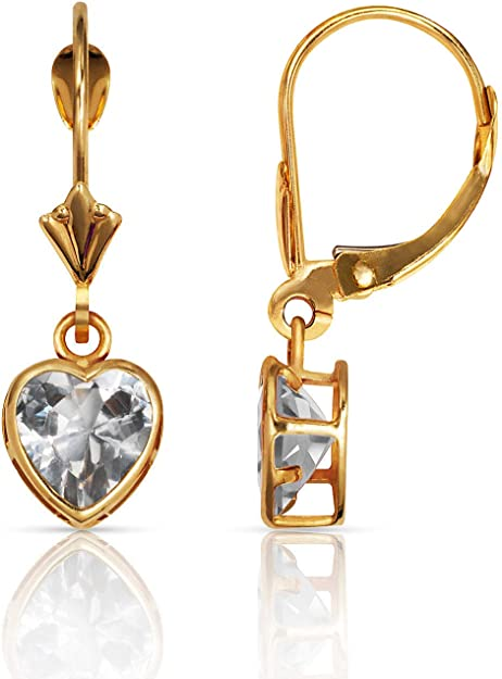 Solid 14k Yellow Gold 5mm Heart Cubic Zirconia CZ bezel Pendant Charm 10mm x 6mm