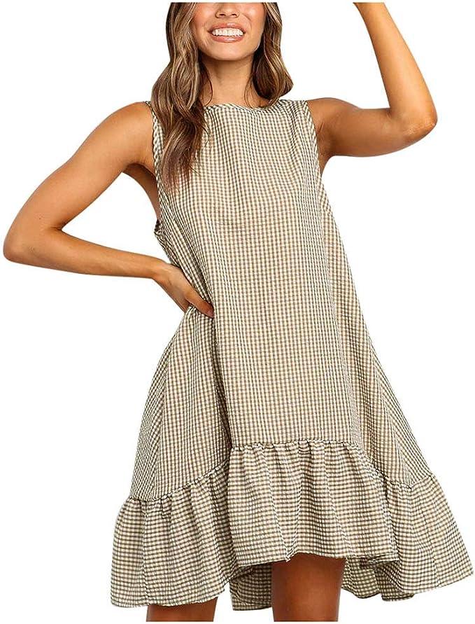 Xisimei Kleider Damen Vintage Armellos Schulterfrei Ruschen A Linien Minikleid Sommerkleider Elegant Asymmetrisches Kurzes Kleid Kariertes Loose Fit Casual S Xl Amazon De Bekleidung