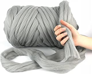 Giant Wool Yarn Chunky Arm Knitting Super Soft Wool Yarn Bulky Wool Roving (2 kg/4.4 lbs, Light Grey)