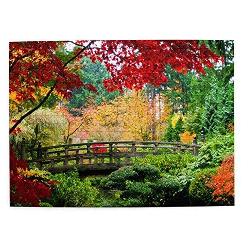 Starodec Adulto 500 Piezas Juego de Rompecabezas Puente jardín japonés Durante la Temporada de otoño Juguetes Educativos para Niños Decoración hogareña