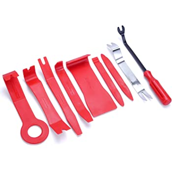LIMICAR 9PCS Car Trim Removal Tool Kit Auto Door Panel Dash Trim Molding Fastener Removal Set Car Dash Radio Audio Installer Pry Tool Red