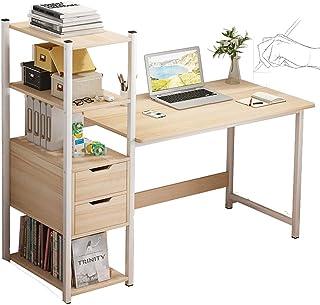 Computer Table Desk Home Office Workstation Large Laptop Table with Bookshelf Storage Shelf and Large Desktop 120cm for St...