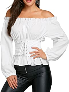 CHARMMA Off The Shoulder Long Sleeve Lace Up Smocked Blouse Top