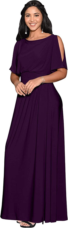 KOH KOH Womens Split Sleeves Smocked Elegant Cocktail Long Maxi Dress